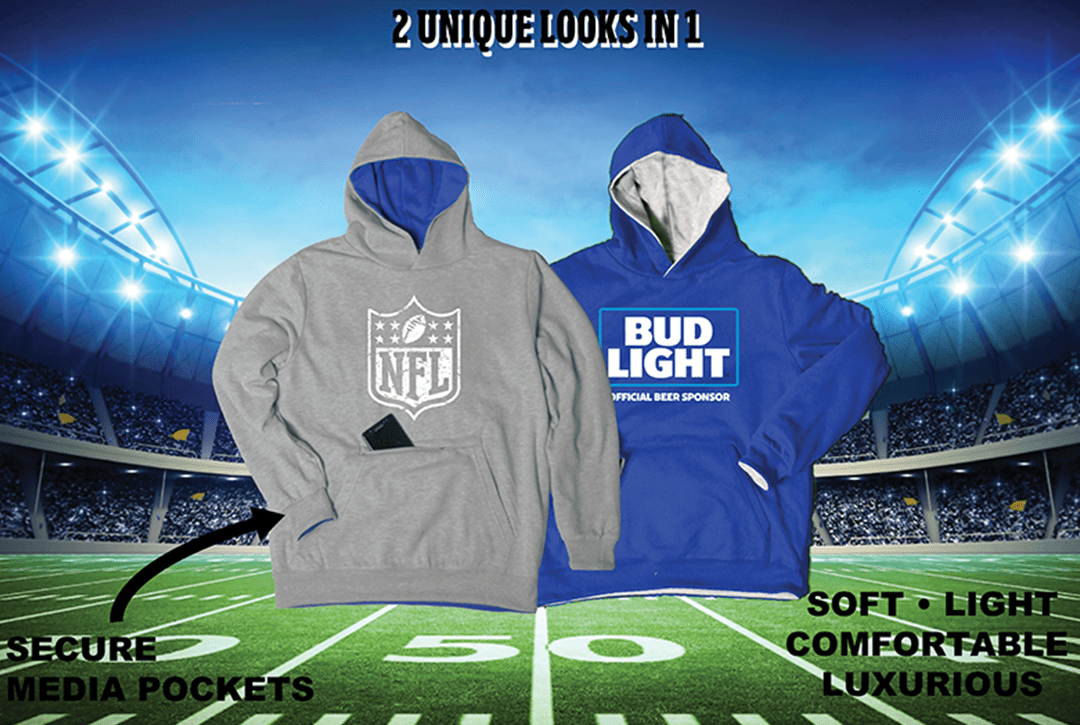 custom reversible blue and gray hoodie with nfl and budlight logo