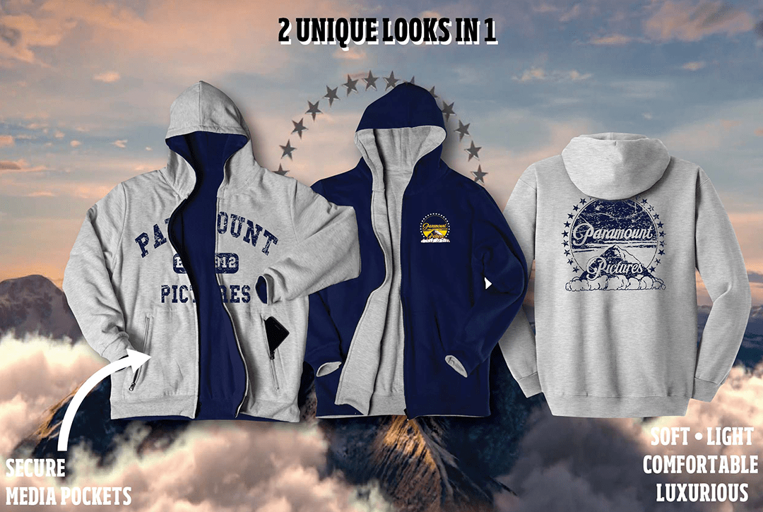 custom reversible blue and gray hoodie with paramount logo