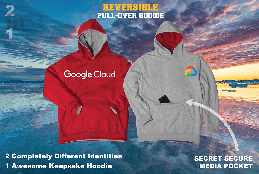 custom red & gray reversible pullover with google logo